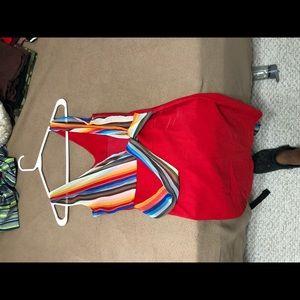 Red striped body con dress